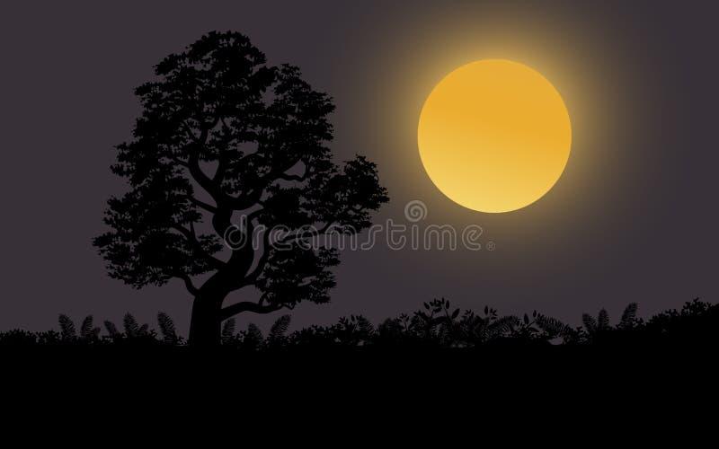 Lune superbe et l'arbre isolé illustration libre de droits