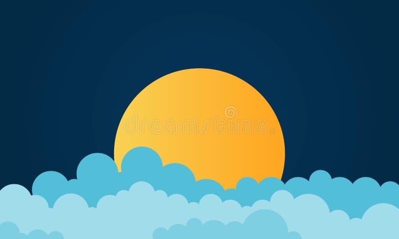 Lune superbe Vecteur attrayant de ciel nocturne de fond avec pleine la lune nuageuse et lumineuse illustration stock