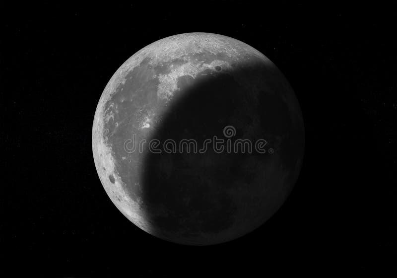 Lune sur le ciel foncé avec des étoiles illustration stock
