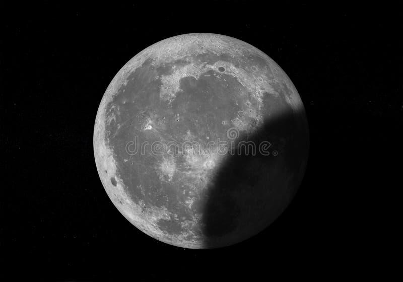 Lune sur le ciel foncé avec des étoiles illustration de vecteur