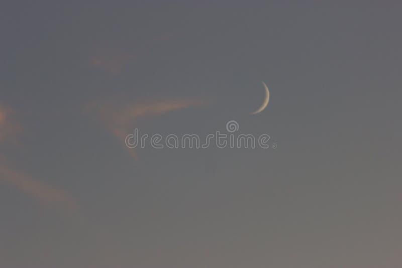 Lune sur un ciel bleu photo libre de droits