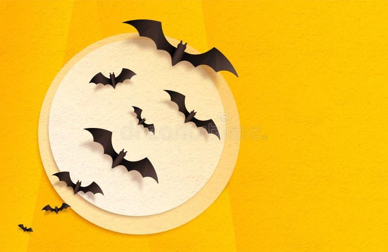 Lune texturisée orange et jaune de papier de métier et battes noires, fond de carte de voeux de Halloween de vecteur illustration libre de droits
