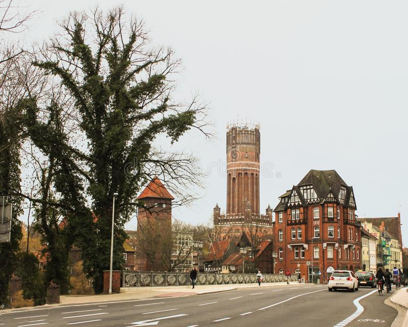 Luneburg, Germany - 10.12.2017: Medieval traditional European houses on stone pavement. Winter in Europe royalty free stock photography