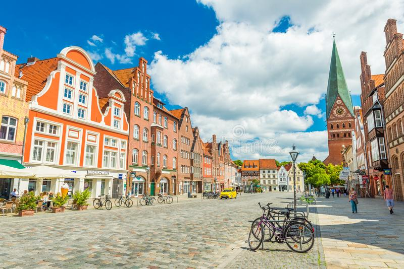 Luneburg, Germany: View of the city center with historic architecture stock photography