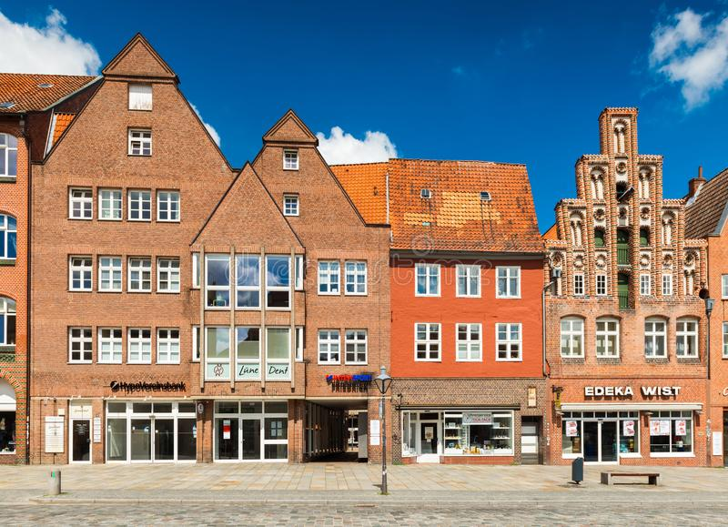 Luneburg, Germany: Facades of houses in different architectural styles. Luneburg - July 2018, Germany: Facades of houses in different architectural styles. One royalty free stock images