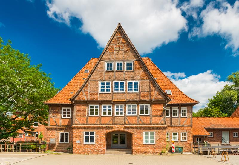 Luneburg, Germany: Old brick half-timbered house in the traditional German architecture style stock photography