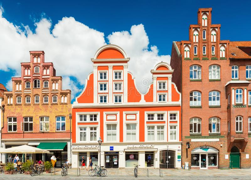 A street with houses in the traditional German architectural style royalty free stock photography