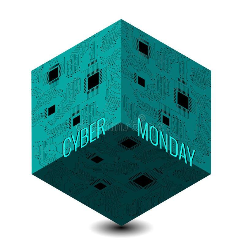Lunedì cyber Giorno di sconto in depositi online 3D cubo techno astratto, nome di evento, illustrazione di un microcircuito illustrazione vettoriale