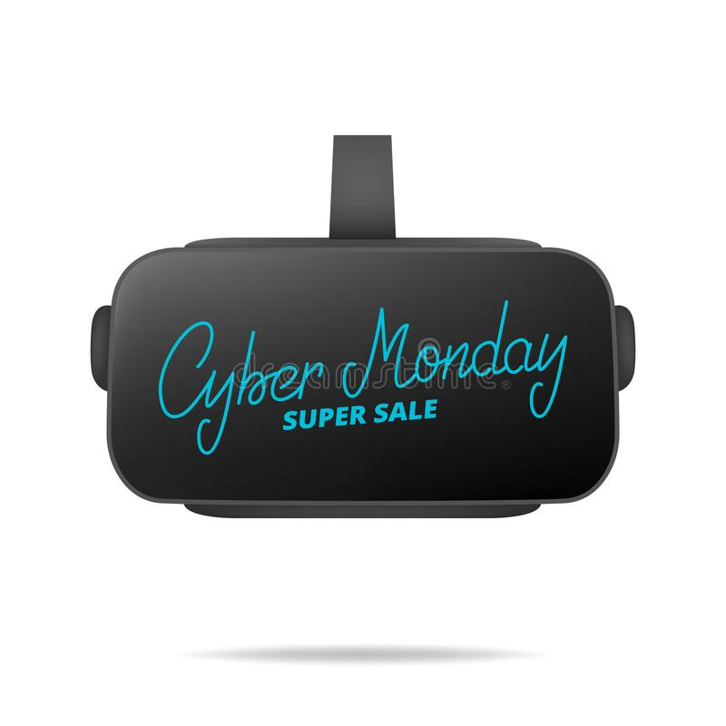 Lunes cibernético Dé poner letras a lunes cibernético sobre los vidrios de la realidad virtual Bandera estacional de la venta est ilustración del vector