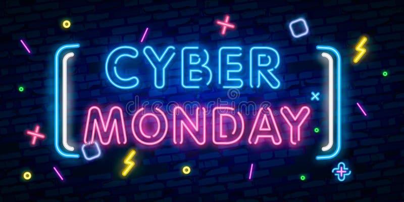 Lunes cibernético, ejemplo del concepto de la venta del descuento en el estilo de neón, las compras en línea y el concepto del má ilustración del vector