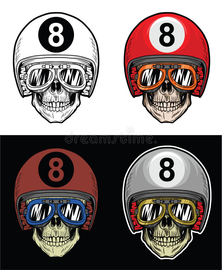 Lunettes de port de crâne de cycliste et casque de huit boules, crâne de dessin de main illustration stock