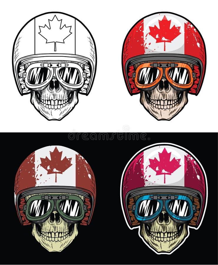 Lunettes de port de crâne de cycliste et casque grunge de drapeau du Sénégal, crâne de dessin de main illustration stock