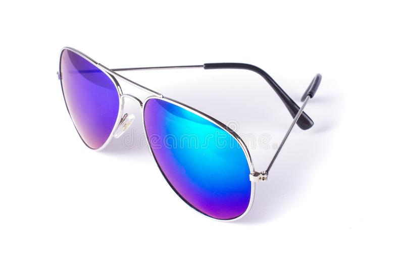 Lunettes de soleil élégantes d'oeil bleu images libres de droits