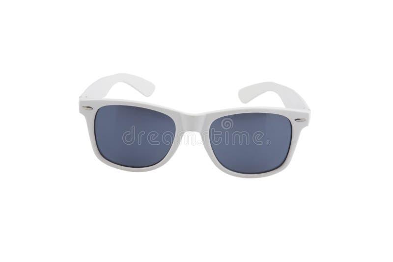 Lunettes de soleil blanches de cru, protection ultra-violette photographie stock