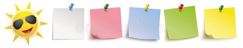 Lunettes de soleil colorées de Sun d'en-tête de goupilles de bâtons illustration stock