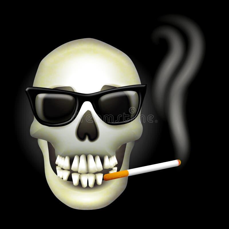 Lunettes de soleil de fumage de crâne illustration de vecteur