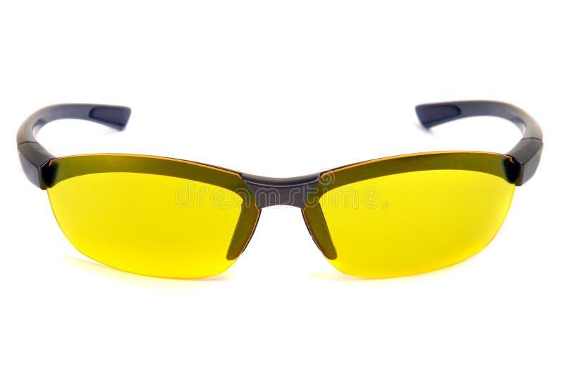 Lunettes de soleil jaunes. Vue de face. images libres de droits
