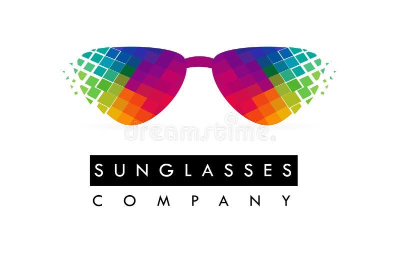 Lunettes de soleil Logo Design Icône colorée en verre illustration libre de droits