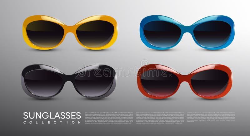 Lunettes de soleil modernes à la mode réglées illustration stock