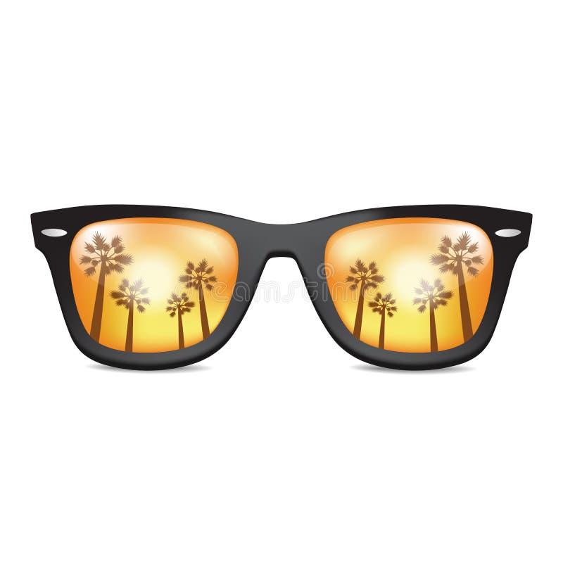 Lunettes de soleil réalistes d'isolement avec la paume california Vecteur illustration libre de droits
