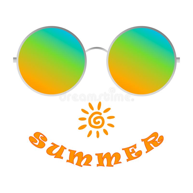 Lunettes de soleil réalistes Le vecteur montre le plaisir de l'été illustration libre de droits