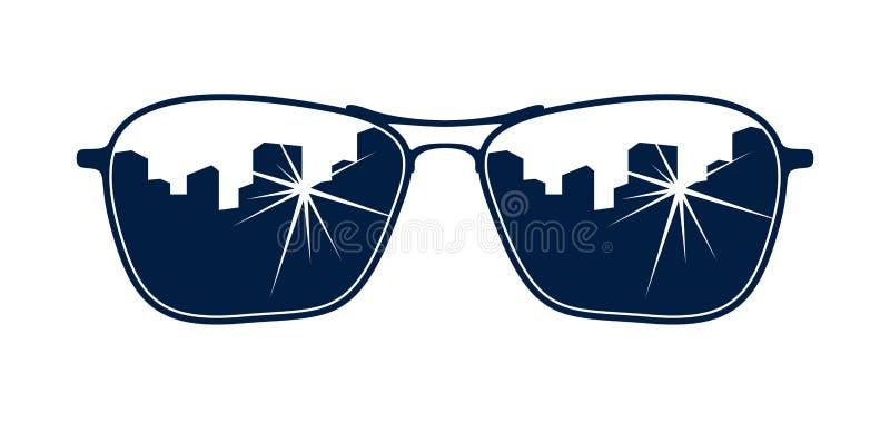 Lunettes de soleil reflétant le vecteur urbain de paysage urbain illustration libre de droits
