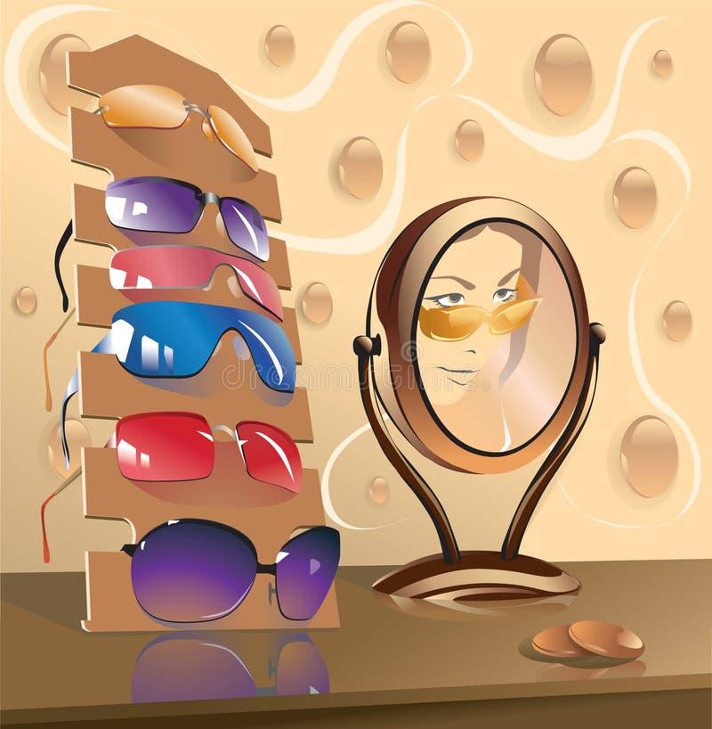 Lunettes et miroir illustration libre de droits
