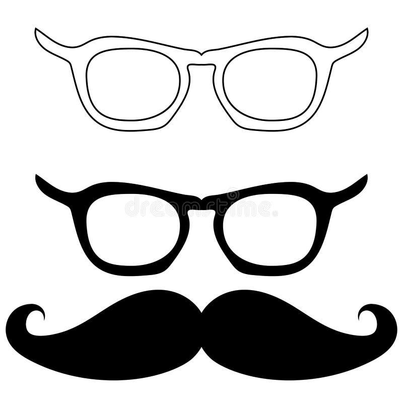 Lunettes et moustache noirs - icônes réglées illustration libre de droits