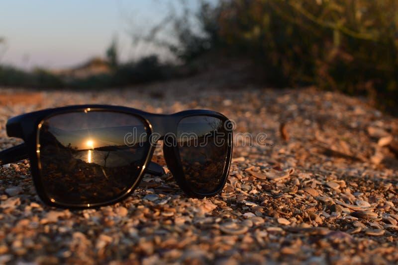 Lunettes, lunettes noires, lunettes de soleil, portant des lunettes de spectacle, le déclin, le sable, le sable au coucher du sol images stock