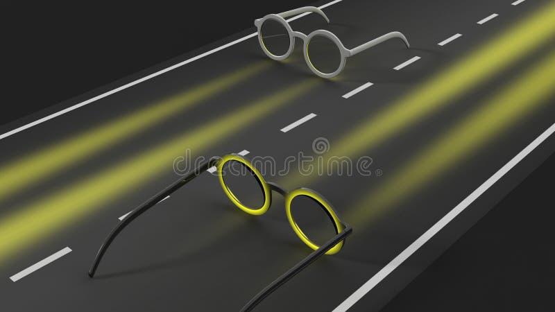 Lunettes sur la route illustration stock
