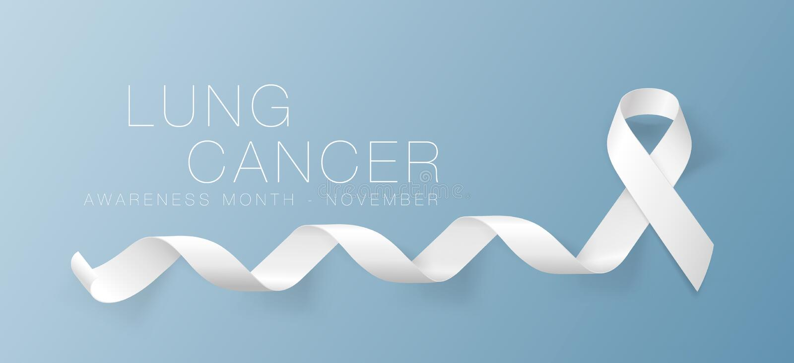 Lung Cancer Awareness Calligraphy Poster Design. Realistic White Ribbon. November is Cancer Awareness Month. Vector. Illustration vector illustration