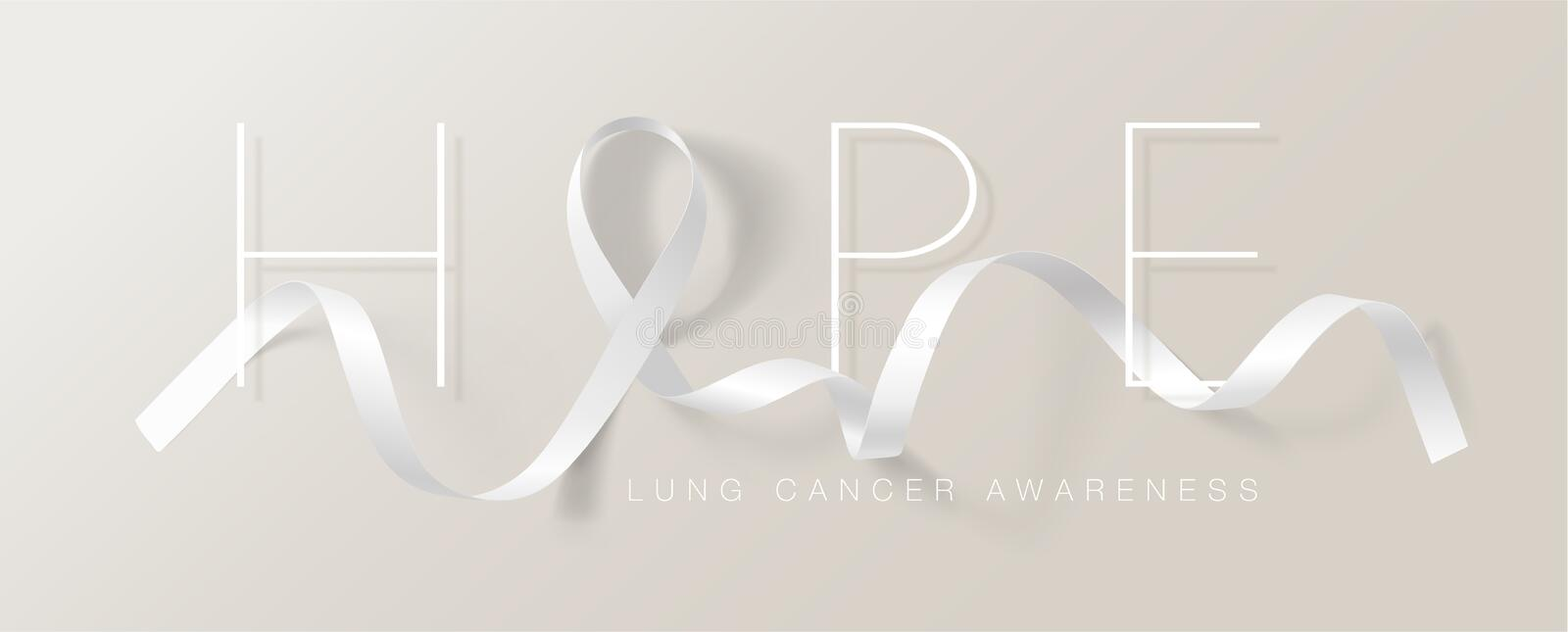 Lung Cancer Awareness Calligraphy Poster Design. Realistic White Ribbon. November is Cancer Awareness Month. Vector. Illustration stock illustration
