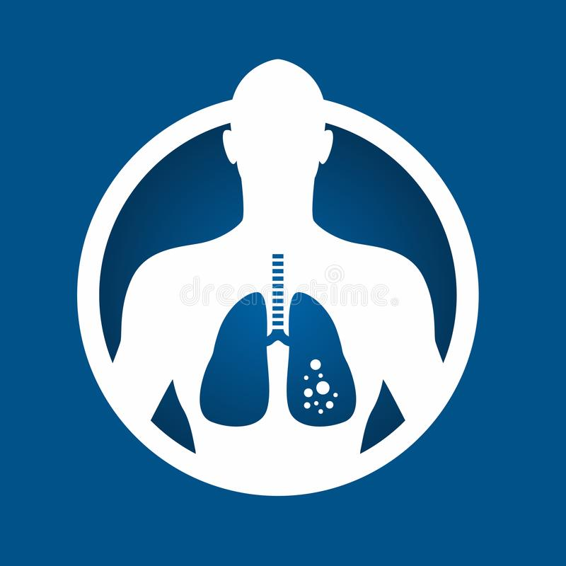 Lung cancer in body human and circle frame sign concept vector design vector illustration