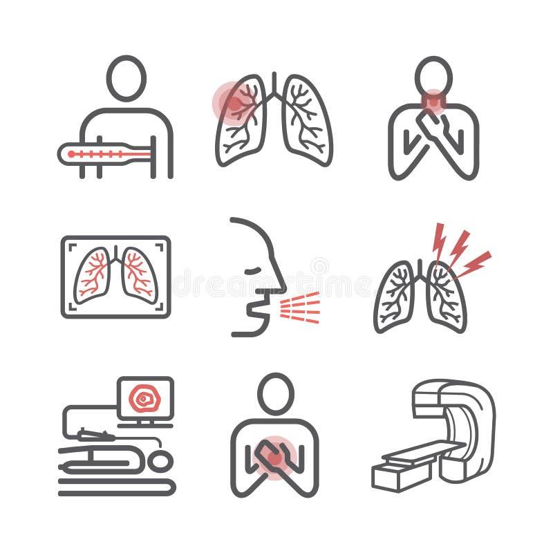 Lung Cancer Tecken orsaker, behandling Linje symbolsupps?ttning Vektortecken f?r reng?ringsdukdiagram stock illustrationer