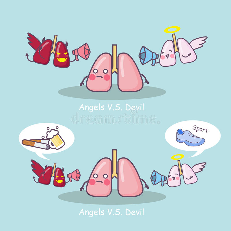 Lung choose between angel and devil. Great for health care concept vector illustration