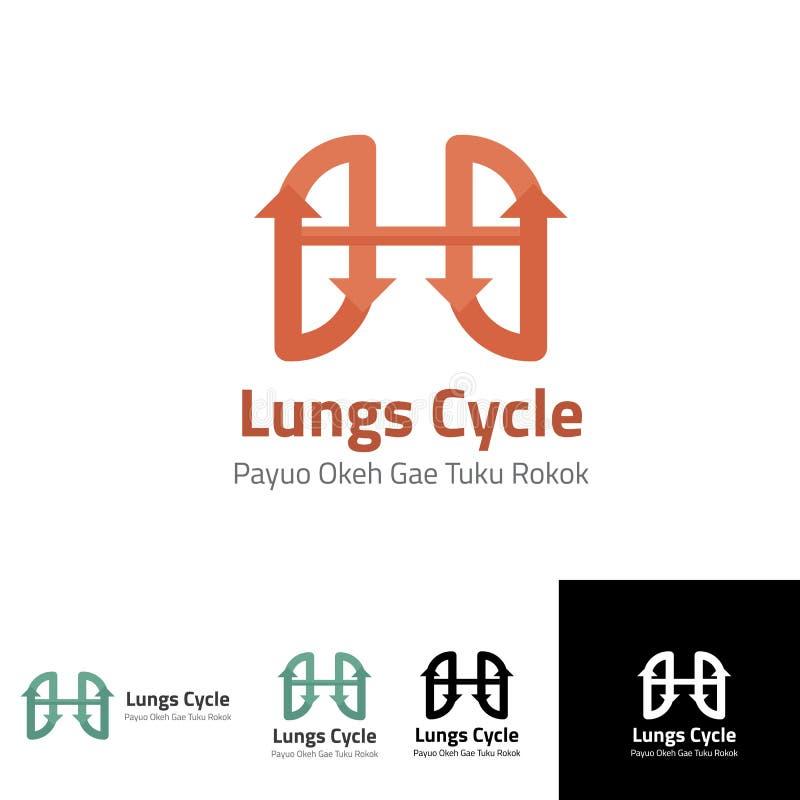 Lung Cycle Logo-Schablone für Gesundheitslungen lizenzfreie abbildung