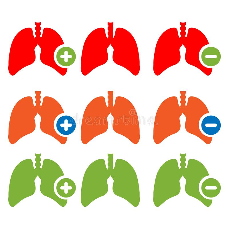 Lung icon with plus and minus sign. stock illustration royalty free illustration