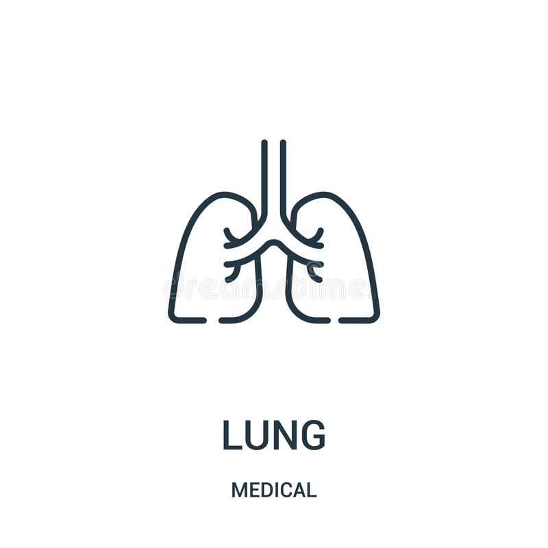 Lung icon vector from medical collection. Thin line lung outline icon vector illustration. Linear symbol for use on web and mobile apps, logo, print media vector illustration