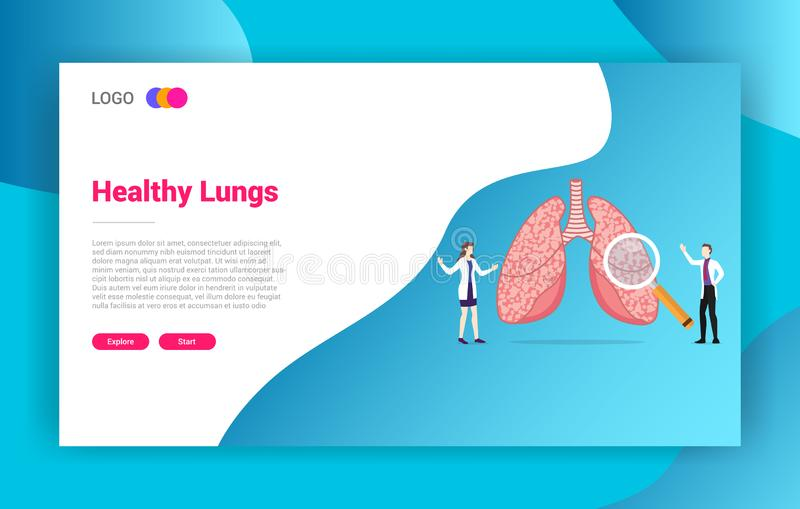 Lung or lungs health doctor treatment concept for website design landing page template - vector royalty free illustration