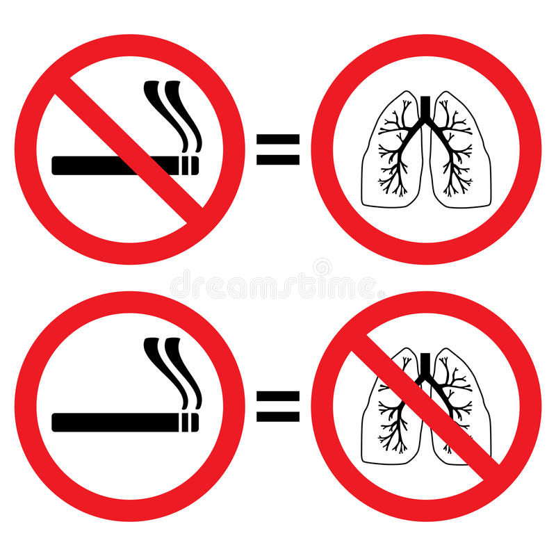 Lung protection from smoking sign royalty free illustration