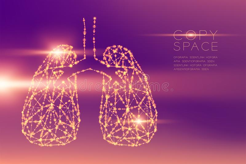 Lung shape futuristic pattern wireframe polygon bokeh light structure and lens flare, Medical Science Organ concept illustration. Isolated on purple gradients royalty free illustration