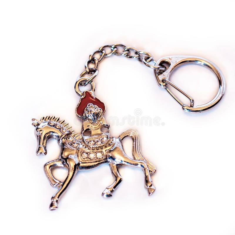 Lung Ta Wind Horse Keychain Amulet. Feng Shui Wind Horse is an auspicious symbol for attainment of success and wealth. Lung Ta royalty free stock photography