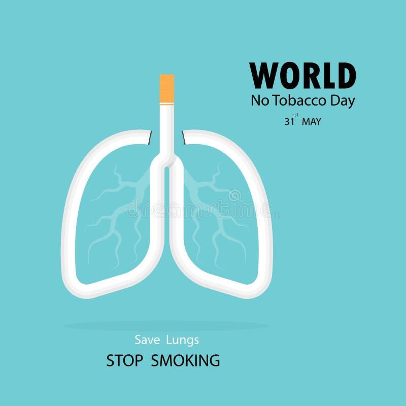 Lunga- och cigarettsymbolen med stoppet som röker vektorlogo, planlägger tem stock illustrationer