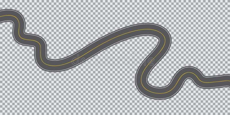 Lunga strada d'avvolgimento su un fondo trasparente illustrazione vettoriale