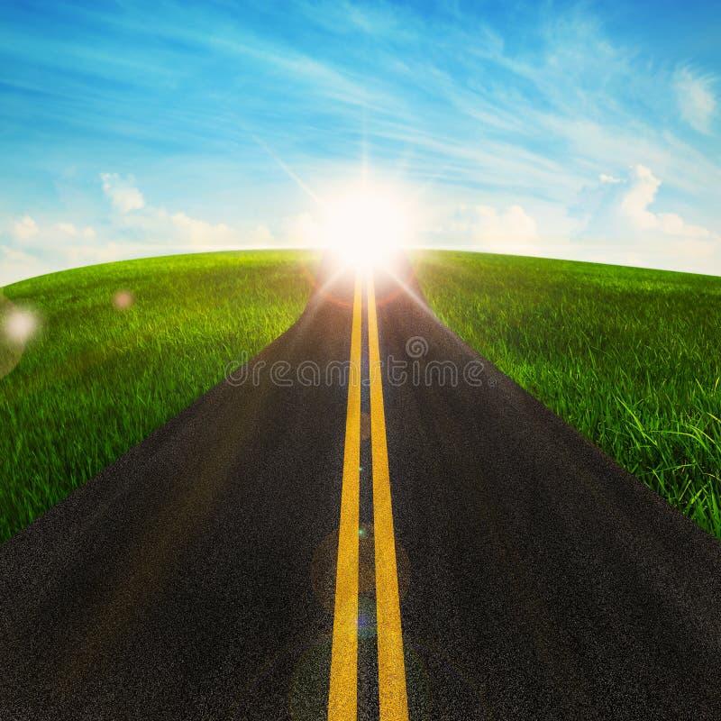 Lunga strada in natura illustrazione vettoriale
