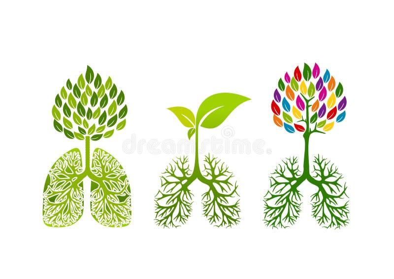 Lungalogo, sund andedräktbegreppsdesign stock illustrationer
