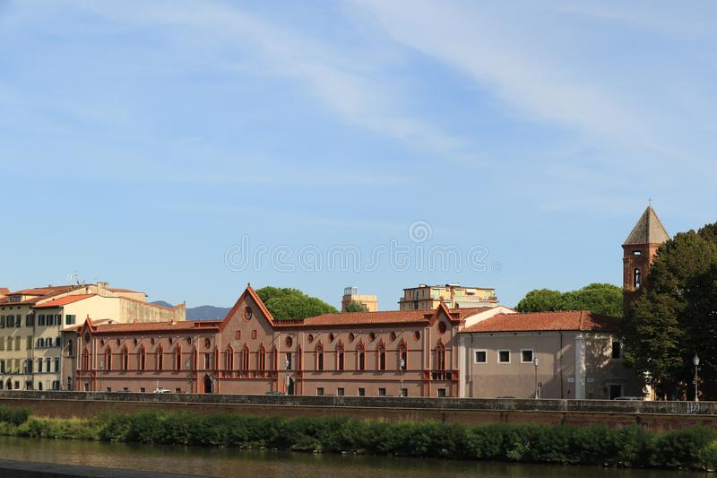 Lungarno Sidney Sonnino, Pisa. Lungarno Sidney Sonnino above the banks of the river Arno, Pisa royalty free stock photos