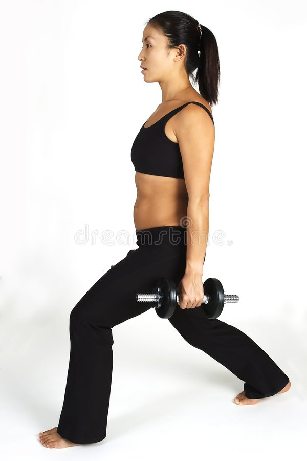 Lunge do Dumbbell fotografia de stock