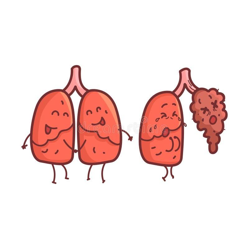 Lunge-menschliches inneres Organ gesund gegen die ungesunden, medizinischen anatomischen lustigen Zeichentrickfilm-Figur-Paare im stock abbildung
