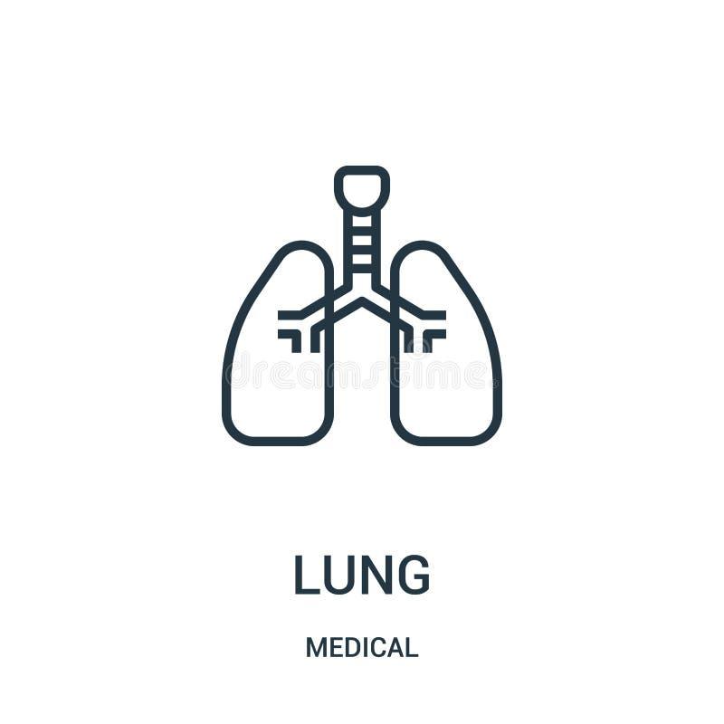Lungenikonenvektor von der medizinischen Sammlung Dünne Linie Lungenentwurfsikonen-Vektorillustration Lineares Symbol für Gebrauc stock abbildung